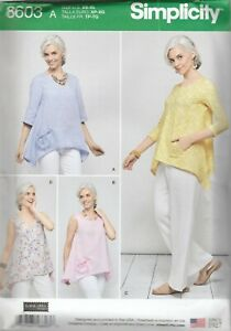 Simplicity Sewing Pattern 8603 Miss Pullover Loose Fitting Tops Sz XS-XL 6-24