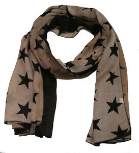 schöner Damen Schal mit Sternen in olive grün beige - sehr chique und leicht