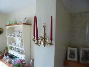Stunning Mid Victorian 3 Branch Wall Candle Sconce-Brass