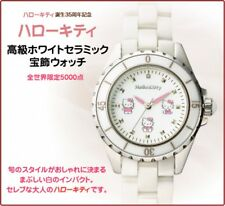 NEW Hello Kitty 35th Luxury White Ceramic Diamond Jewlry Watch  from Japan F/S