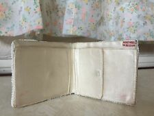 ANTIQUE BELGIUM HAND MADE 1920'S - 30'S WHITE BEADED WALLET & COIN PURSE