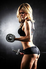 SUPERB SEXY WOMAN GYM FITNESS DUMBBELLS CANVAS #596 QUALITY A1 CANVAS PICTURE