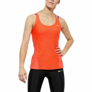 Under Armour UA HeatGear Ladies Fashion Q2 Neon Coral Sports Running Vest