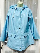 BABY BLUE SHINY HOODED MAC / MACK / RAIN COAT SZ 6 LARGE ATMOSPHERE  /  FESTIVAL