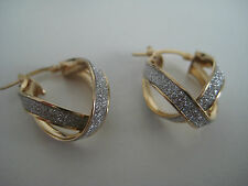 Gold glitter earrings 9 carat yellow gold crossover moondust