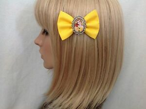 Beauty and the beast belle hair bow clip rockabilly pin up Disney princess
