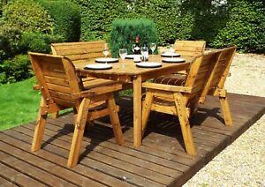 Home Gift Garden 6 Seat Wood Outdoor Rectangular Dining Set, Parasol & Cushions