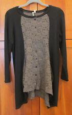 COMFY USA Black Gray Floral Lace Inset Color Block Asymmetrical Drape Tunic XS