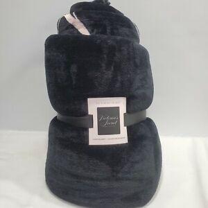 "Victorias Secret Sherpa Blanket Logo Black Pale Pink Super Soft NWT 50"" x 60"""
