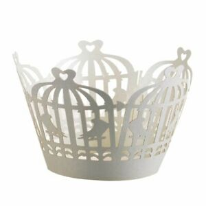 24 CUPCAKE WRAPPERS BIRDCAGE LASER CUT CASES CAKE WEDDING BIRTHDAY PARTY SHOWER