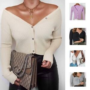 Womens Ribbed Button Down Crop Cardigan Knitted Top Warm Top Jumper