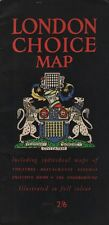 """THE """"LONDON CHOICE MAP"""" - HOW TO FIND THEATRES, RESTAURANTS, TAXIS, SHOPS(c1960)"""
