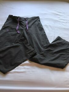 Women's Med Couture Gray/w Purple Accents Scrub Pants Size Medium