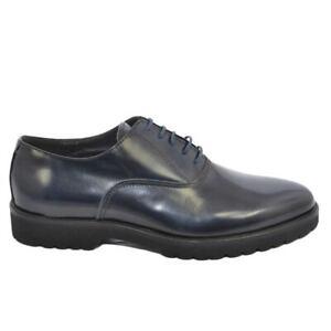 Scarpa stringata uomo liscia blu 018 in vera pelle abrasivata con fondo gomma ro
