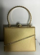 Gold Fabric With  Crystals Evening/Wedding  Bridal Clutch With Metal Handle $280