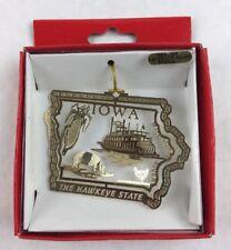 Nations Treasures Iowa Hawkeye State Corn 24K Brass Metal Ornament Souvenir
