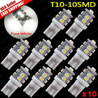10x Super White T10 License Plate Tag & Interior 10-LED SMD Light Bulbs
