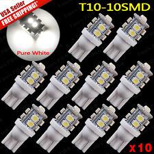10x Super White T10 License Plate Tag & Interior 10-LED SMD Light Bulbs