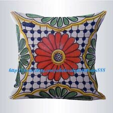 US SELLER-patio furniture cushion covers Mexican Spanish talavera cushion cover