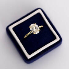 3CT Oval Cut Diamond Solitaire Engagement Ring 14K Yellow Gold Over