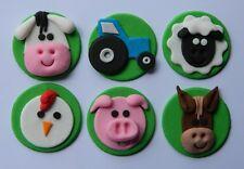 12 edible FARM ANIMAL cake CUPCAKE topper DECORATION pig COW sheep TRACTOR horse