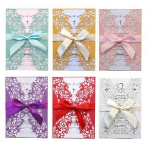 20pcs Wedding Invitations Card Hollow Invite Envelopes with Ribbon Bridal Shower