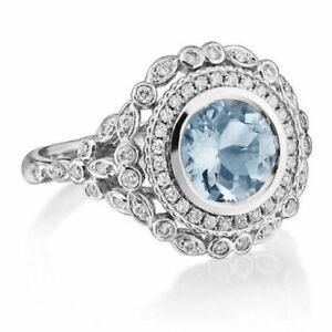 14K solid white gold genuine round 7 mm Aquamarine Ring,dimaond  unique ring