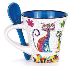 2-teiliges Set Espressotassen aus Keramik inkl. Keramiklöffeln und Motiv Katzen
