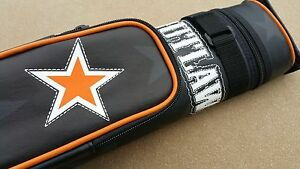 New Outlaw Hard 2x2 Pool Cue Case - Stitched Eagle, Soft Felt Lined Tubes, 2-Pkt