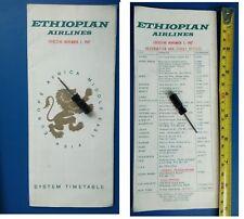 Ethiopian Airlines timetable 1967 brochure