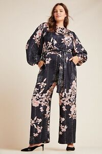 NWT ANTHROPOLOGIE HARLYN AUDRIA JACQUARD JUMPSUIT SILKY BLACK FLORAL 3 X PLUS