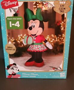 Christmas Disney 5 ft Minnie Mouse with Present In Hand Airblown Inflatable 2021