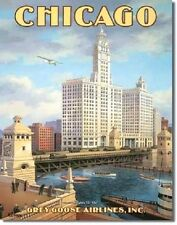 """New ! Chicago """"Grey Goose Airlines"""" Tin Metal Sign"""