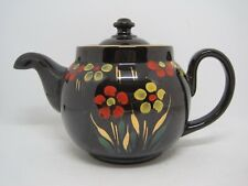 Vintage Alcock Lindley & Bloore ALB England Brown Betty Glazed Floral Teapot