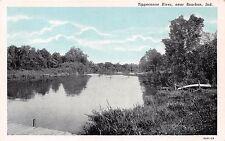 BOURBON INDIANA TIPPECANOE RIVER CURTEICH PRE LINEN POSTCARD 1930s
