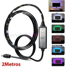 Tira de led RGB 5050SMD controlador USB 2 Metro para CONECTAR TELE LUZ AMBIENTE