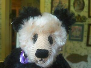 OOAK mohair Artist Teddy Bear Panda Veronica Dooling, Bearly Legal Bears 9in EUC