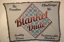 `Blanket Dude` My Logo on a custom Tapestry Throw Blanket - Fringed