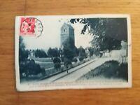 CPA ST HILAIRE DU HARCOUET TOUR EGLISE TIMBRE PAIX 50C 1936 CACHET FOUGERE
