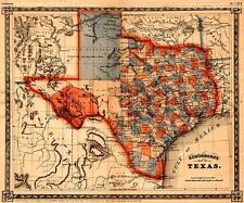 USA Schonberg's Historic 1866 MAP of TEXAS & SOUTHWEST 24
