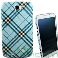 Custodia rigida PLAID AZZURRO per Samsung N7100 Galaxy Note 2 II back cover