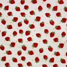 Ivory 100 Cotton Red Strawberries Polka Dot Fabric