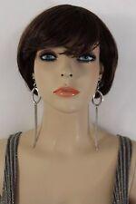 Women Silver Earrings Long Metal Chain Fringes Oval Hook Dangle Fashion Jewelry