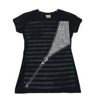 Hyprid Tees Vintage Zipper Graphic T Shirt Juniors XL Black Striped Cap Sl Tunic