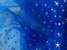 ORGANZA Stoff in ROYAL BLAU Sterne RELIEF Sternenhimmel Meterware Stoffe