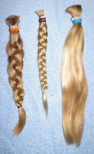 HUMAN HAIR HAIRCUT 13.5 INCH BABY FINE BLONDE BLEND PONYTAIL REBORN DOLLS P71