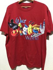 Hanes Walt Disney Lg Red Spell Out Characters Mickey Donald Goofy Woody Shirt