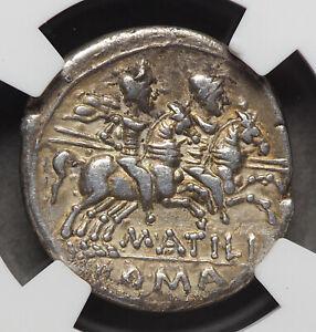 ROMAN REPUBLIC. M. Atilius Saranus. 148 BC. AR Denarius, NGC Ch VF