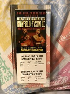 1997 Holyfield vs Mike Tyson Boxing Full Ticket Promo Paperweight Acrylic Heavy