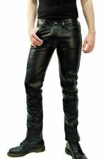 Men's Leather Pants Jeans Thigh fit Trouser Lederhosen Schwarz Cuir Bikers Gay